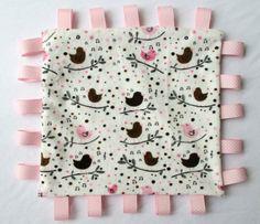 Love bird Minky Tag Blankie. Tag blanket pink by NurseriesbyMimi, $15.00