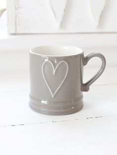 Natural Taupe Heart Mug.