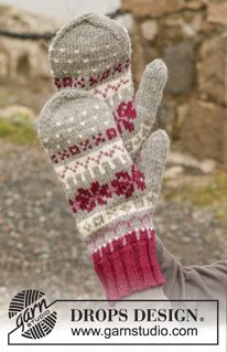 Knitted DROPS mittens with Nordic pattern in Lima. Free knitting pattern by DROPS Design. Knitted Mittens Pattern, Fair Isle Knitting Patterns, Knit Mittens, Knitted Gloves, Knitting Socks, Free Knitting, Crochet Patterns, The Mitten, Drops Design