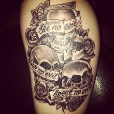 See no evil hear no evil speak no evil tattoo got on 7-11! Skull tattoo large