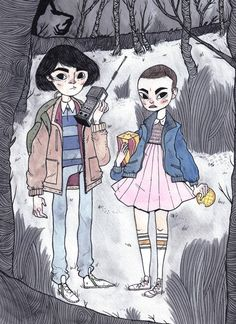 Finally found time to draw Mike and Eleven from Stranger Things! That show was…