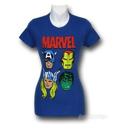 Marvel Avengers Heads Junior Womens T-Shirt