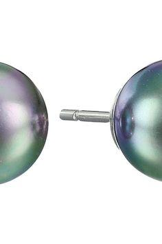 Majorica 8mm Pearl SS Earrings (Gray) Earring - Majorica, 8mm Pearl SS Earrings, 720359SPG-020, Jewelry Earring General, Earring, Earring, Jewelry, Gift, - Street Fashion And Style Ideas