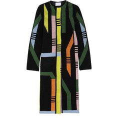 Peter Pilotto Track ribbed stretch wool-blend coat (2.950 BRL) ❤ liked on Polyvore featuring outerwear, coats, jackets, coats & jackets, dresses, black, pastel coat, j.crew coats, colorful coat and multi colored coat