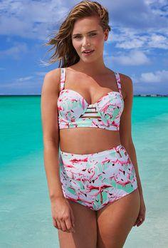Shop the top swimsuit trends of Summer 2016 | flamingo print high waist bikini