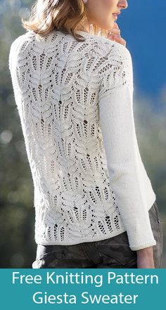 Free Knitting Pattern for Giesta Sweater with Knit Lace Back - Knitting patterns, knitting designs, knitting for beginners. Ladies Cardigan Knitting Patterns, Free Knitting Patterns For Women, Lace Knitting Patterns, Lace Patterns, Summer Knitting, How To Purl Knit, Knit Lace, Jumpers For Women, Mantel