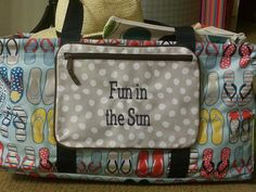Lotsa Dots matches the flip-flops in Fun Flops, and the Pocket-A-Tote is a great way to add extra storage to a Large Utility Tote so your little things don't get lost!