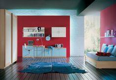 60 Cool Teen Bedroom Design Ideas   DigsDigs  - paci sa mi na tom odsadeny panel (ten cerveny), za ktorym je osvetlenie...