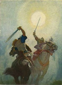 The above is an illustration by N. Wyeth for the book Legends Of Charlemagne. Wyeth, the father of Andrew, was the greatest of American book illustrators and one of the greatest of A… Art And Illustration, Book Illustrations, Jamie Wyeth, Andrew Wyeth, Nc Wyeth, Howard Pyle, Templer, Wow Art, Art Moderne