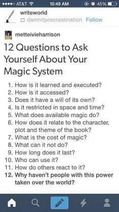 Novel Writing Tips - Questions to ask about your magic system Creative Writing Tips, Book Writing Tips, Writing Words, Writing Resources, Writing Help, Writing Skills, Writing Ideas, Fiction Writing, Creative Writing Inspiration