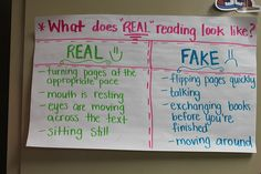 Real Reading vs Fake Reading.  Excellent for teaching Silent Reading Stamina - Anchor Chart