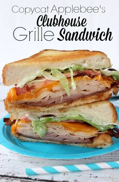 Copycat Applebee's Clubhouse Grille Sandwich. I would substitute something yummy for the mayo and switch the shredded lettuce for spinach.