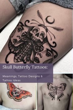 Regardless of what the Skull Butterfly tattoo symbolizes for you, there are a plethora of unique designs to choose from. If you're feeling overwhelmed at all the choices available to you, have a look at some of these striking designs that we've put together. Skull Butterfly Tattoo, Butterfly Tattoo Meaning, Butterfly Tattoo Designs, Skull Tattoo Design, Skull Tattoos, Rose Tattoos, Unique Tattoos For Women, Unique Tattoo Designs, Cool Tattoos For Guys