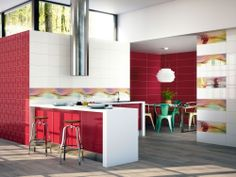 Red and white #kitchen with #ceramic #wood #flooring. 7034 series.