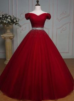 Real 2016 Delicate Red Ball Gown Quinceanera Dresses Off Shoulder