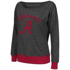 Women's Colosseum Charcoal Alabama Crimson Tide Bikram Banded Bottom Sweater