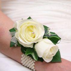 22 best silk flower wrist corsages images on pinterest silk ivory rose wrist corsage with diamantes mightylinksfo