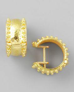 19k Gold Granulated Hoop Earrings by Elizabeth Locke at Neiman Marcus. $2400