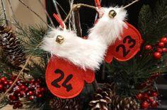 Items similar to Christmas Countdown Rustic Felt Mitten Advent Calendar on Etsy Christmas Countdown, Christmas Ornaments, Advent Calendar, Felt, Blackbird, Rustic, Holiday Decor, Etsy, Home Decor
