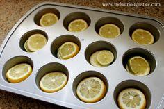 Lemon slices frozen in water discs, pretty way to dress up your water or lemonade