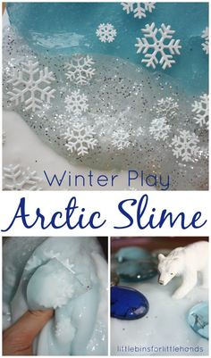 Arctic slime Winter sensory play and Winter science activity for kids. Slime science with our homemade liquid starch slime recipe. Easy slime recipe for kids to make. Animal Activities, Sensory Activities, Winter Activities, Sensory Play, Preschool Activities, Sensory Table, Sensory Bins, Preschool Winter, Preschool Education