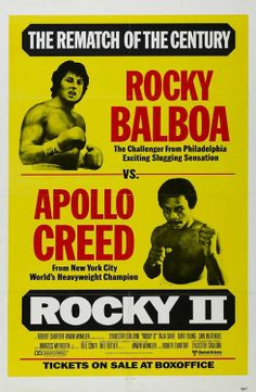 Actors Carl Weathers and Sylvester Stallone feature as Apollo Creed and Rocky Balboa on a poster for the United Artists boxing movie 'Rocky II' 1979 Rocky Ii, Rocky Balboa, Sylvester Stallone, Fight Movies, Burt Young, Stallone Rocky, Frank Stallone, Apollo Creed, Carl Weathers