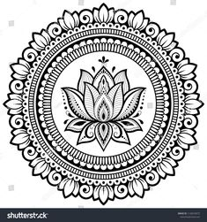 Circular pattern in form of mandala with Lotus for Henna, Mehndi, tattoo, decoration. Decorative ornament in ethnic oriental style. Coloring book page. Lotus Henna, Flower Henna, Lotus Mandala, Lotus Flowers, Mandala Art Lesson, Mandala Artwork, Mandalas Painting, Mandalas Drawing, Mandala Sketch