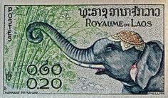 Laos elephant stamp