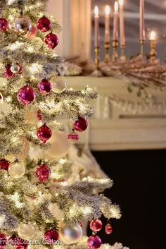 Vintage Pink & Gold Frosted Christmas Tree - French Country Cottage