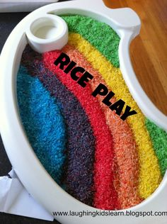 Playing with coloured rice is fun and educational for all children, especially babies and toddlers.