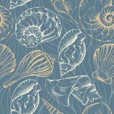 Buy Shell Seamless Pattern by mari_pazhyna on GraphicRiver. Vector seamless vintage pattern with various hand drawn seashells on sea water background. Sea Illustration, Water Background, Art Deco Wallpaper, Sea Theme, Dream Art, Surface Pattern Design, Free Vector Art, Background Patterns, Sea Shells