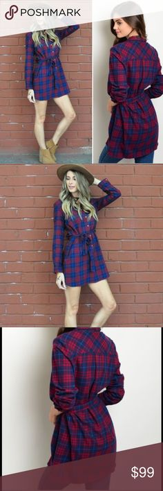 """WKEND SALE Plaid Tunic Dress Sexy Cowboy Style It's HERE! NOT FREE PEOPLE (just for awareness)  36"""" long sexy red blue plaid high quality tunic dress features long sleeves, button up detail, removable sash. Looks like fitted version of the CHECKMATE DRESS by FREE PEOPLE. Great transition piece for Fall: bare legs & ankle booties & Winter: tights, knee high boots, big scarf! 100% cotton, soft, comfy. IMPORTANT SIZING: 4TH pic.🚫trades, 🚫returns. ask Q's ❤️PRICE FIRM unless bundled❤️HIGH…"""