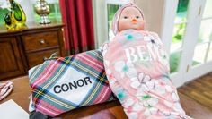 Monogram Swaddle Blanket and Headband! DIY by @orlyshani on Home and Family!