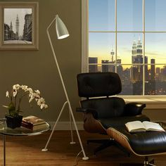 Modway Askance Floor Lamp in White Contemporary Floor Lamps, Modern Floor Lamps, Modern Contemporary, Modern Light Fixtures, Modern Lighting, Modern Furniture, Furniture Design, White Floor Lamp, House Design