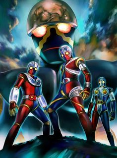 The Kikaider Brothers the one-and-only, and ready for action. Japanese Monster Movies, Dragon Ball Z, Jojo Stands, Japanese Show, Character Art, Character Design, Robot Cartoon, Japanese Superheroes, Legion Of Superheroes