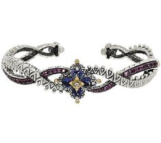 Barbara Bixby Sterling & 18K Iolite & Pink Garnet Flower Cuff Bracelet