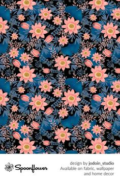 Customize your own home decor, #wallpaper and #fabric at Spoonflower. Shop your favorite indie designs on #fabric, #wallpaper and home decor products on Spoonflower, all printed with #eco-friendly inks and handmade in the United States. #patterndesign #textildesign #pattern #digitalprinting #homedecor #flowers #peach #blue #black
