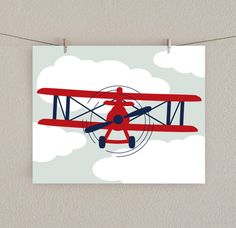 Baby Boy Nursery Print Airplane Art Red by SlightlySprightly, $16.00