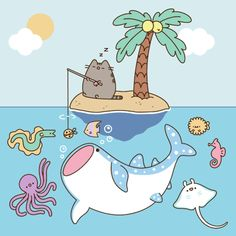 Pusheen is totally the cutest in every way here you see him chilling on a nice sunny day. Wish it was that weather cause right now it is frezing! Gato Pusheen, Pusheen Love, How To Draw Pusheen, Pusheen Unicorn, Pusheen Stormy, Cute Vector, Nyan Cat, Cute Kawaii Drawings, Kawaii Cat