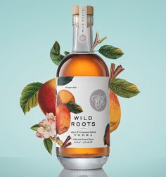 Wild Roots Apple Cinnamon Infused Vodka Label Design #packagingdesign #alcoholpackaging