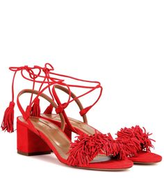 Aquazzura - Wild Thing 50 suede sandals - Aquazzura offers a feminine favourite with this block-heel update to the 'Wild Thing' design. Crafted in supple lipstick-red suede, they're finished with playful fringing to the toe, while a lace-up ankle keeps the look sexy. Pair with low-key ensembles and let these darlings take centre stage. seen @ www.mytheresa.com