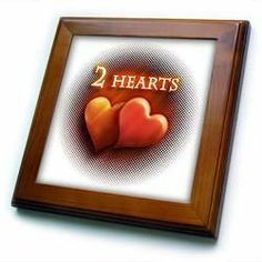 """2 Red Hearts - 8x8 Framed Tile by Houk. $22.99. Inset high gloss 6"""" x 6"""" ceramic tile.. Cherry Finish. Dimensions: 8"""" H x 8"""" W x 1/2"""" D. Keyhole in the back of frame allows for easy hanging.. Solid wood frame. 2 Red Hearts Framed Tile is 8"""" x 8"""" with a 6"""" x 6"""" high gloss inset ceramic tile, surrounded by a solid wood frame with predrilled keyhole for easy wall mounting.. Save 15%!"""