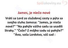 """James, je niečo nové Vráti sa Lord zo služobnej cesty a pýta sa svojho sluhu Jamesa: """"James, je niečo nové?"""" """"Na pahýle vášho sadu sa usadili"""