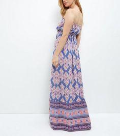 Petite Purple Tile Print Bandeau Maxi Dress   New Look