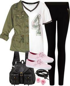 Project Social T white v neck t shirt / Military style jacket / Mango embellished legging, $50 / Keds sneaker / Jas MB flap backpack / Nakamol bracelet / Flower stud earrings