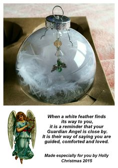 The glass 'Guardian Angel' ornament I made for family members. All items were bought at Michael's. I put white feathers inside the ball with clear and silver seed beads on the bottom to add sparkle when on the tree. I made the angel with Peridot beads to represent dad (his birthstone) who died a couple of days before Christmas in 2010. I also made the tag. I wrapped them in boxes that were the perfect size. Hopefully it will have a special place on our Christmas trees for many years to…