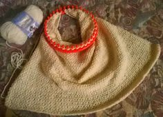Instructions (and pattern link) for the no seam loom knit baby blanket done on a round loom