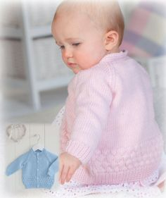 Stylish free baby knitting patterns double knit wool free knitting pattern: peter pan bubble baby cardigan EQDYIUS - Crochet and Knit Knit Baby Sweaters, Knitted Baby Cardigan, Baby Knits, Pink Sweater, Knitting For Kids, Free Knitting, Knitting Yarn, Free Baby Knitting Patterns, Jumper Knitting Pattern