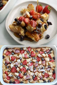 Berry French Toast Casserole - The perfect breakfast and brunch food for the Christmas holidays! Moist on the inside, slightly crusty on the top, this Berry French Toast Casserole is delicious and fee Breakfast And Brunch, Perfect Breakfast, Breakfast Finger Foods, Breakfast Casserole French Toast, Birthday Breakfast, Mini Breakfast Food, Easy Breakfast Ideas, Breakfast Party Foods, Romantic Breakfast