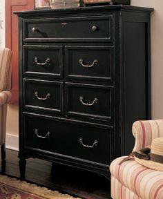 distressed black dresser. baby's room